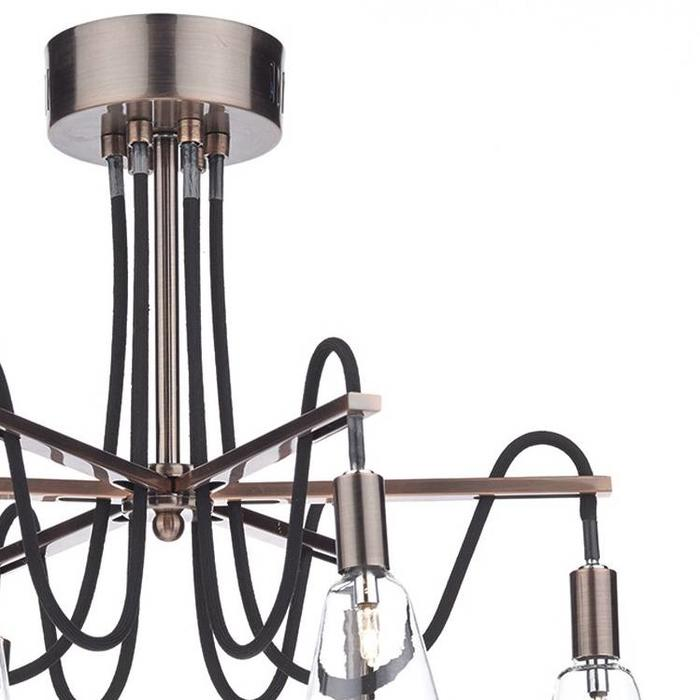 Industrial Cable Semi-Flush 6 Light - Brushed Copper