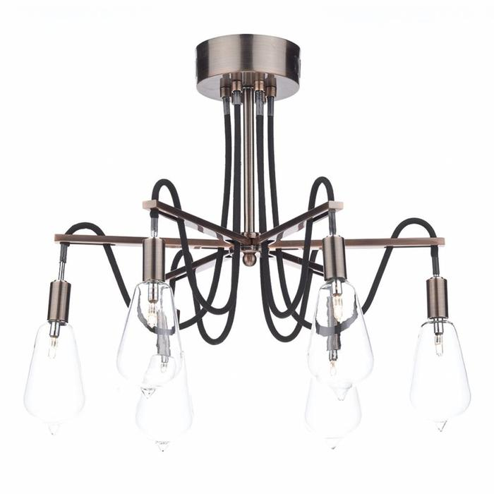 Cable Semi-Flush 6 Light - Brushed Copper - New Industrial