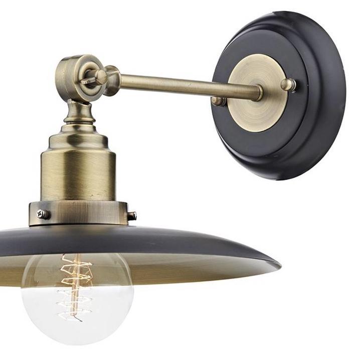 Industrial Wall Light - Antique Brass & Black