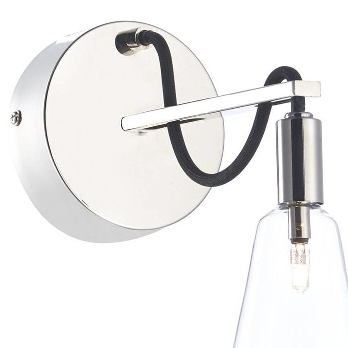 Industrial Cable Wall Light - Polished Nickel
