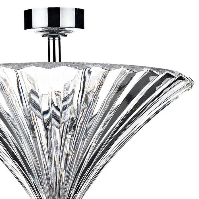 Fluted Clear Glass Semi-Flush Pendant