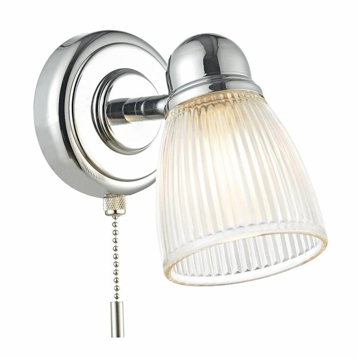 Ribbed Glass Wall Light - Polished Chrome