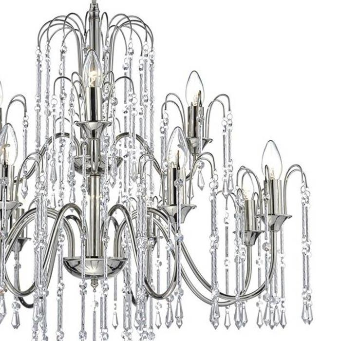 12 Light Waterfall Chandelier - Polished Nickel