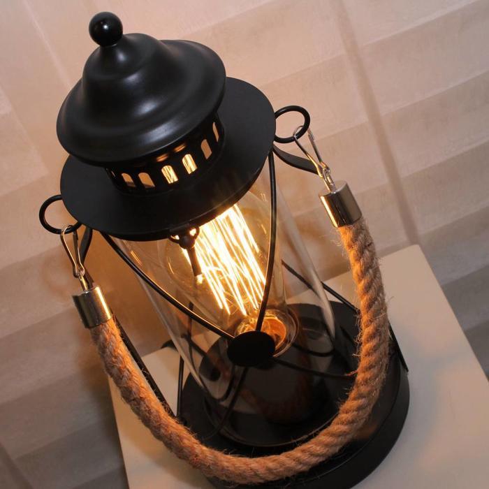 Rope Handled Table Lantern - Black