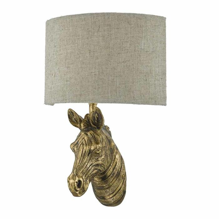 Marty - Aged Gold & Natural Linen Shade Wall Light