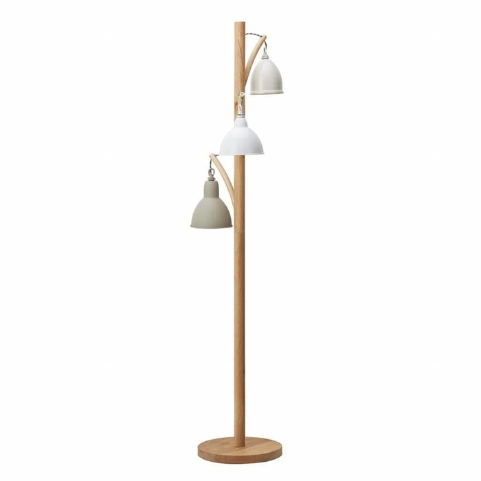 Retro Vintage Floor Lamp - Lightwood and Cream