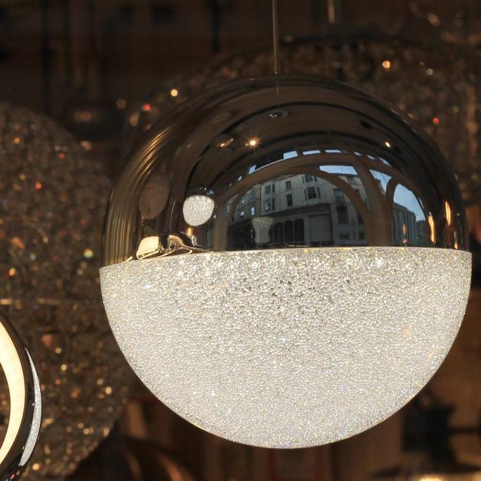 Keln - LED Globe - Polished Chrome & Crushed Ice Sparkle