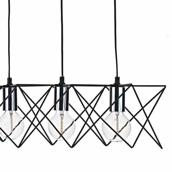 5 Light Cage Bar Pendant - Black  & Chrome