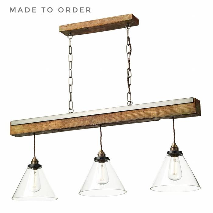 Colorado - Clear Glass, Antique Brass and Wood Effect Beam Bar Pendant