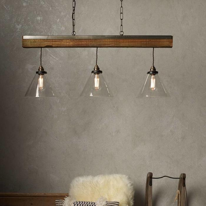 Colorado - Clear Glass, Antique Brass and Resin Wood Effect Bar Pendant