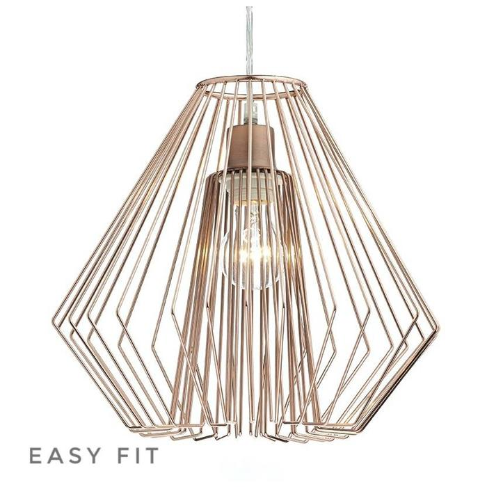 Cage - Polished Copper Wirework Easy Fit Pendant - Shade Only