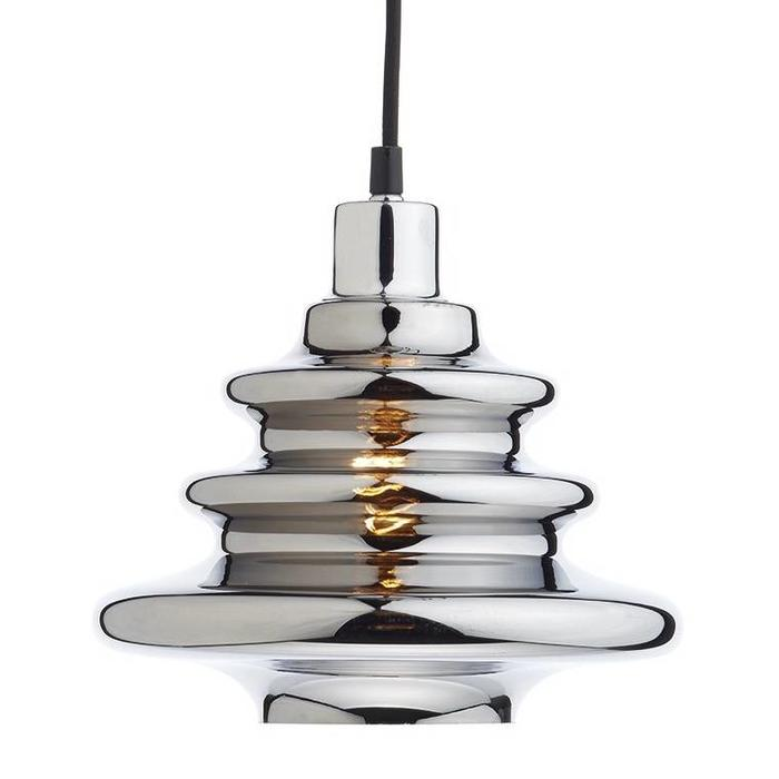 Chromed Ripple Glass Shade - Easy Fit Pendant Shade