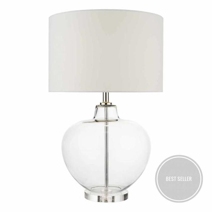 Urn - Clear Glass & Polished Chrome Lamp complete with Ivory Shade