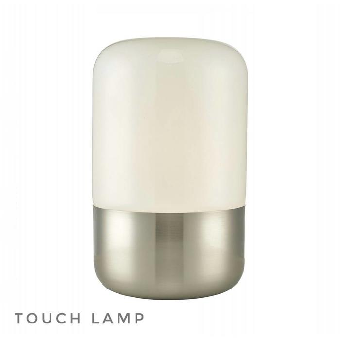 Bean - Satin Chrome Touch Table Lamp - Opal Glass