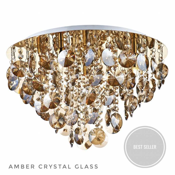Amber - 5 Light Flush Gold Fitting with Amber Crystal Droppers