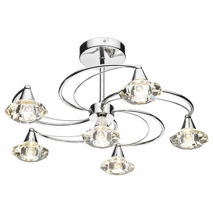 6 Light Crystal Semi Flush Fitting - Polished Chrome