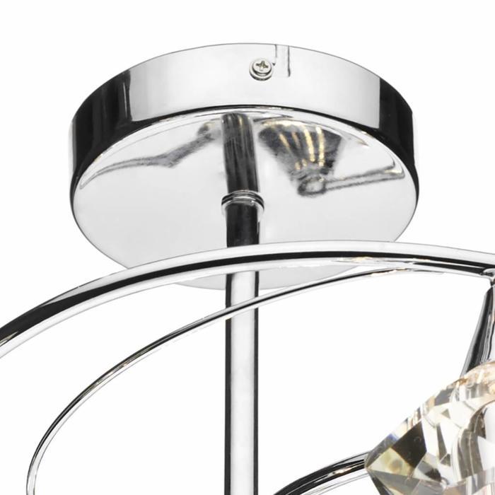 6 Light Crystal Semi Flush Fitting - Polished Chrome