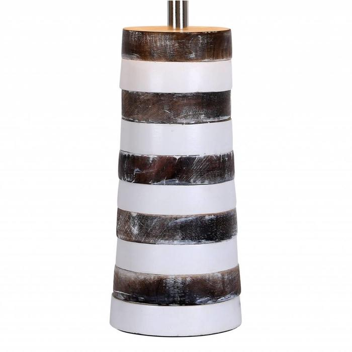 Jura - Stacked Wooden Table Lamp with Natural Linen Shade