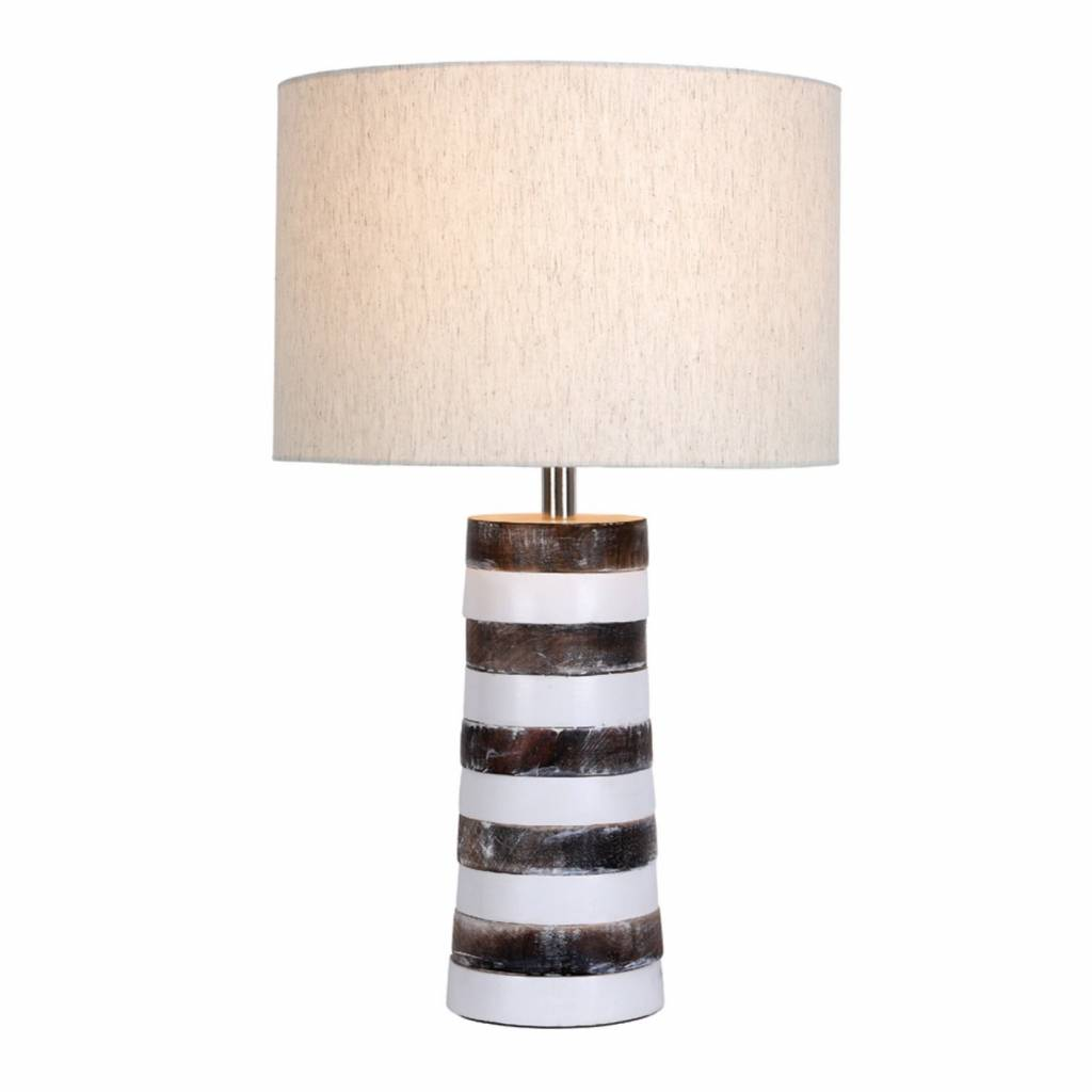 Jura Stacked Wooden Table Lamp With Natural Linen Shade