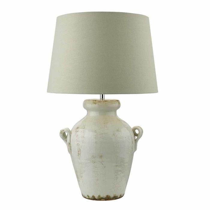 Ravenna - Antique Cream Table Lamp with Natural Linen Shade