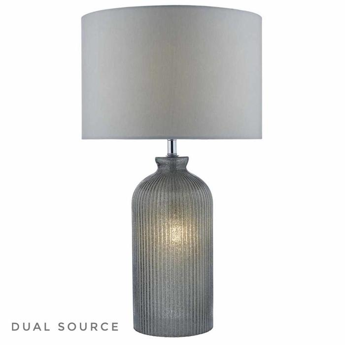 Pamplona - Dual Source Grey Glass Table Lamp