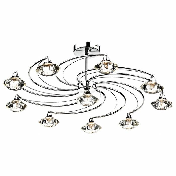 10 Light Crystal Semi Flush Fitting