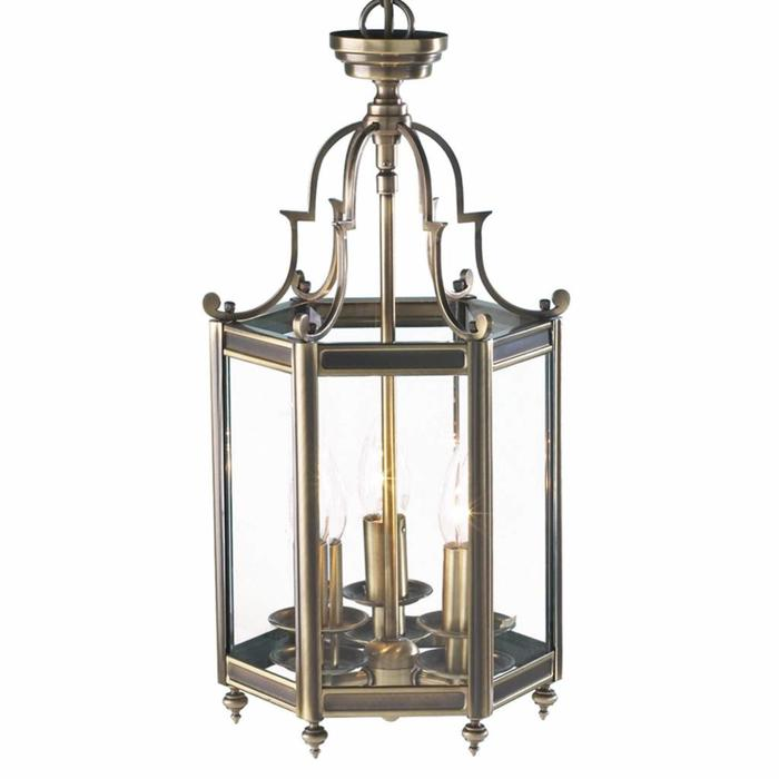 Classic Hall Lantern - Hexagonal Dual Mount Antique Brass Lantern