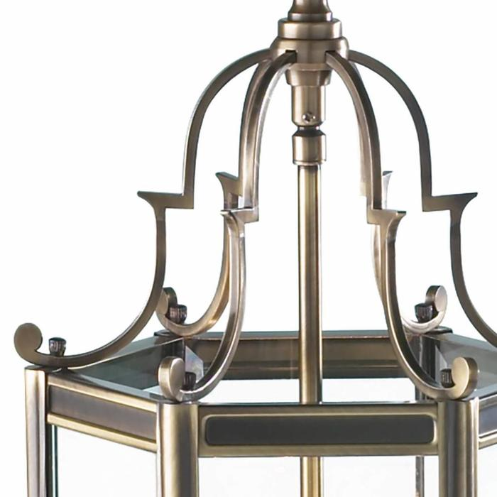 Classic Hall Lantern - Hexagonal Dual Mount Antique Brass Lantern