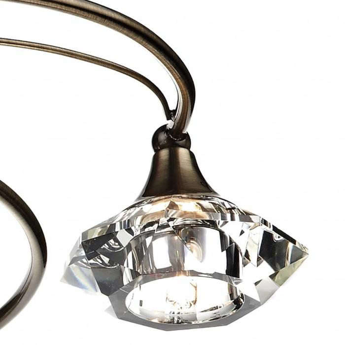 6 Light Semi Flush Crystal Fitting - Antique Brass