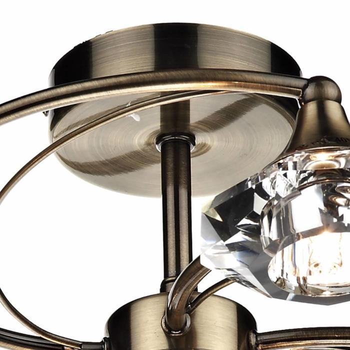 Riveria 4 Light Semi Flush Crystal Fitting - Antique Brass