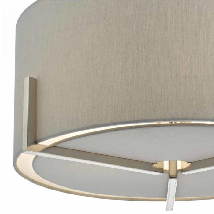Santino - Grey Faux Silk Shade with Satin Chrome
