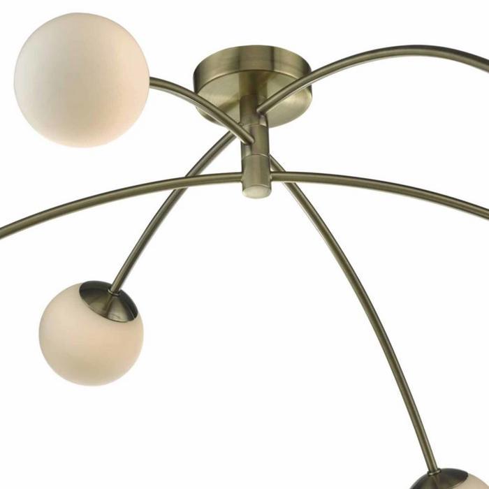 Puglia - 6 Light Semi Flush Fitting - Antique Brass & Opal Glass