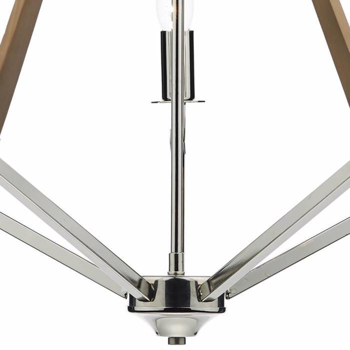 Hotel - 5 Light Pendant - Dual Mount - Polished Nickel/Wood