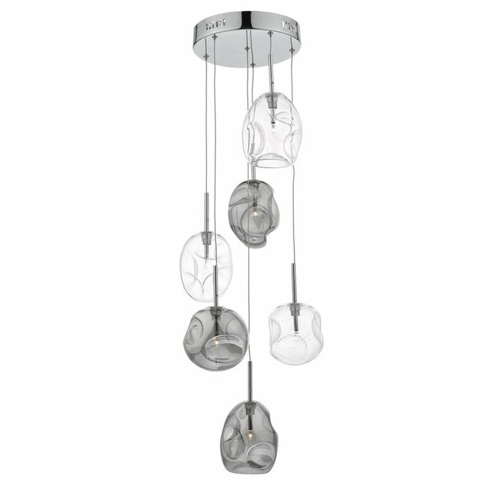 Quinn - 6 Light Cluster Pendant - Smoked/Clear Glass