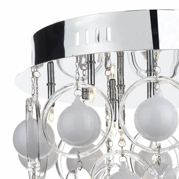 White Bauble & Crystal Flush Fitting