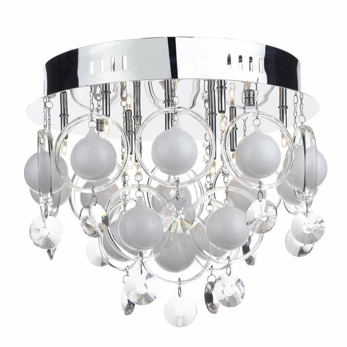 Cirrus - White Bauble & Crystal Flush Fitting