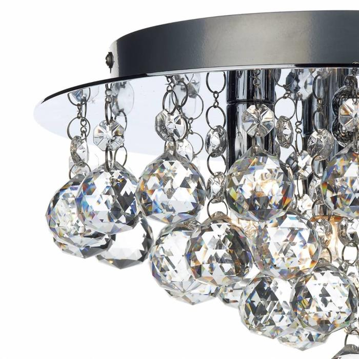 Crystal Flush Ceiling Light - Polished Chrome - Small