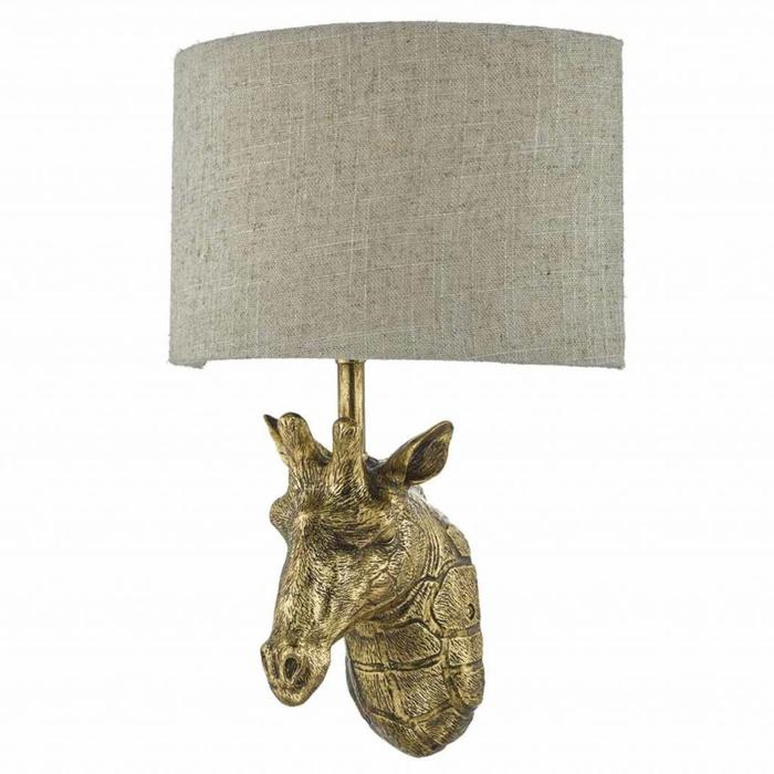 Giraffe Wall Light - Gold with Natural Linen