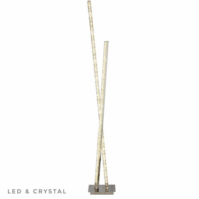 LED Criss Cross Column Crystal Floor Lamp