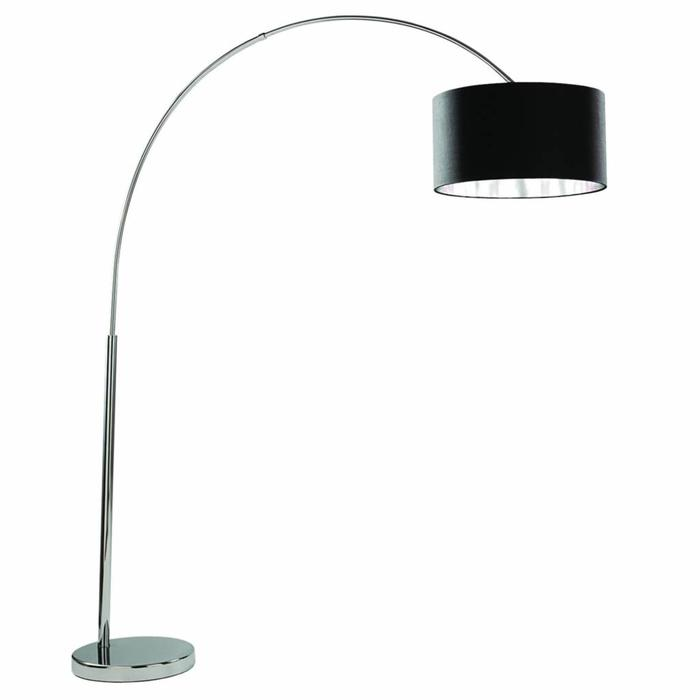 Arcs - Oversized Chrome Floor Lamp with Black Fabric Shade