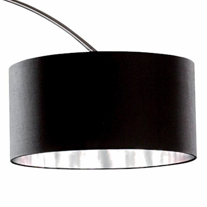 Arcs - Oversized Chrome Floor Lamp with Black Fabric Shade