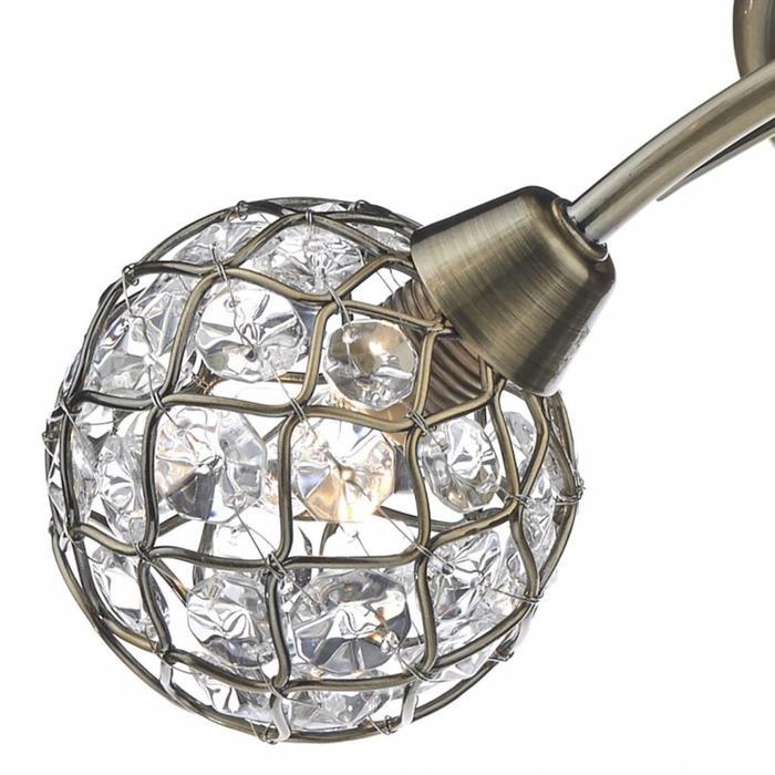 Beaded Ball Semi Flush Ceiling Light - Antique Brass