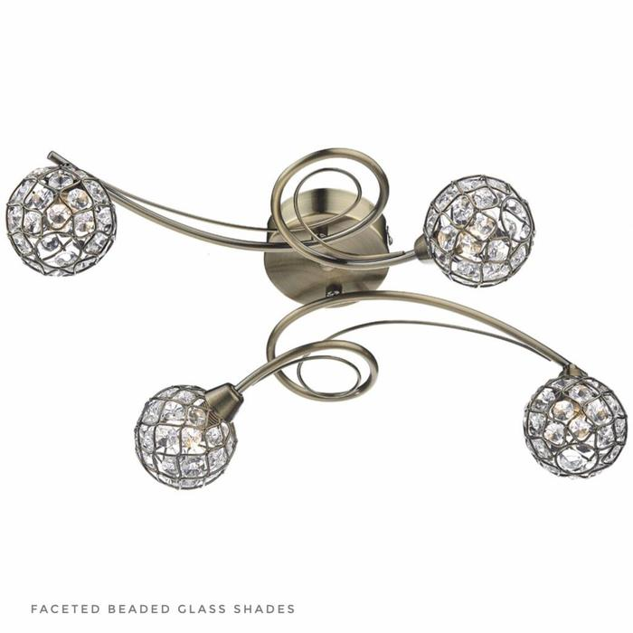 Beaded Ball Semi Flush Ceiling Light - Antique Brass