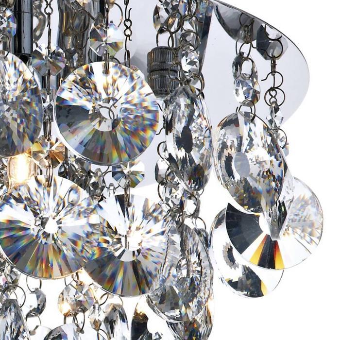 Clear Crystal Flush Chandelier - Polished Chrome