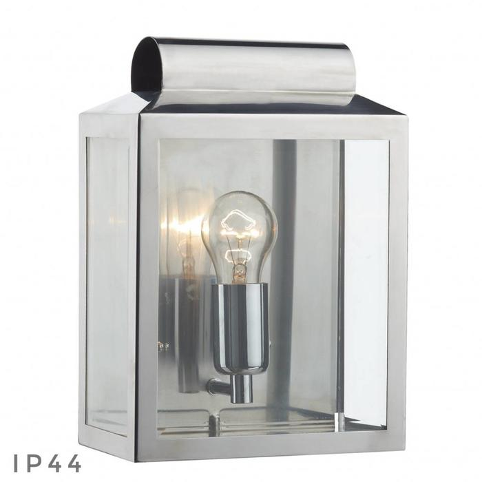 Notary - Modern Box Outdoor Wall Light - Polished Chrome