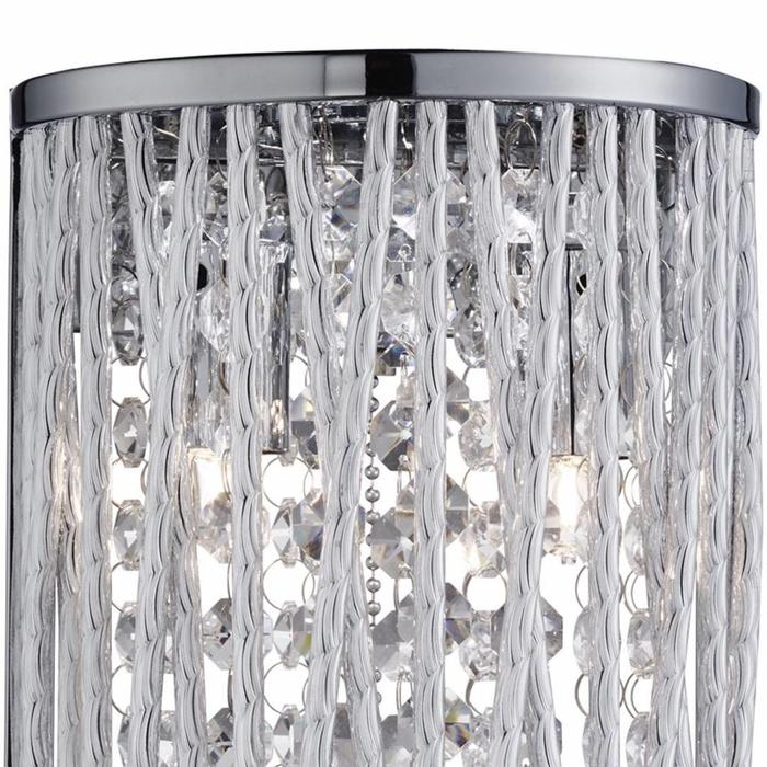 Twist Wall Light - Crystal Beaded Flush Wall Light with Twisting Metal Rods