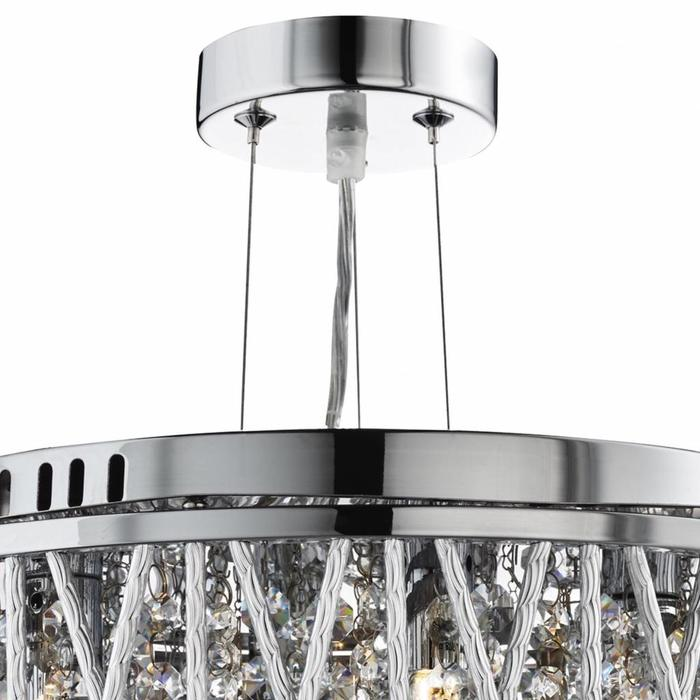 Twist 3 Light Chandelier - Crystal Beads with Twisting Metal Rods