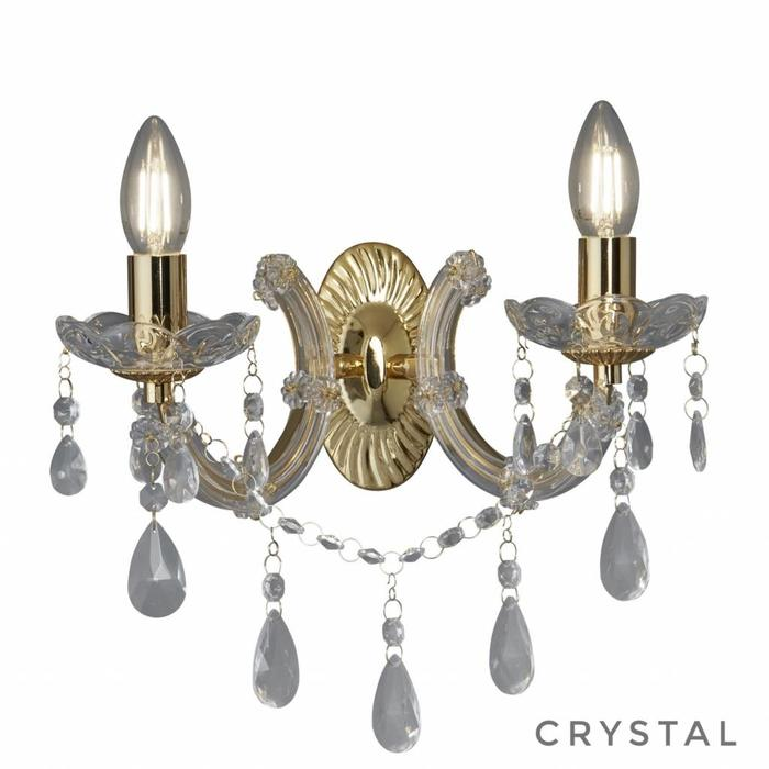 Marie Theresa - Classic Crystal Chandelier Wall Light - Polished Brass