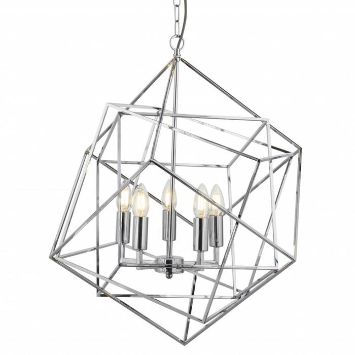 Géo - Geometric Cube Feature Light - Polished Chrome