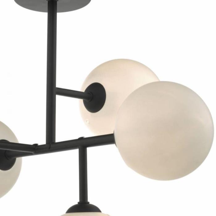 Mac - 5 Light Matt Black & Opal Glass Globe Statement Semi Flush Fitting